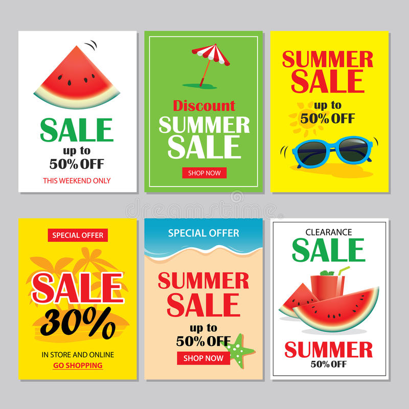 Summer sale emails and banners mobile templates. Vector illustrations for website, posters, brochure, voucher discount, flyers, n royalty free illustration