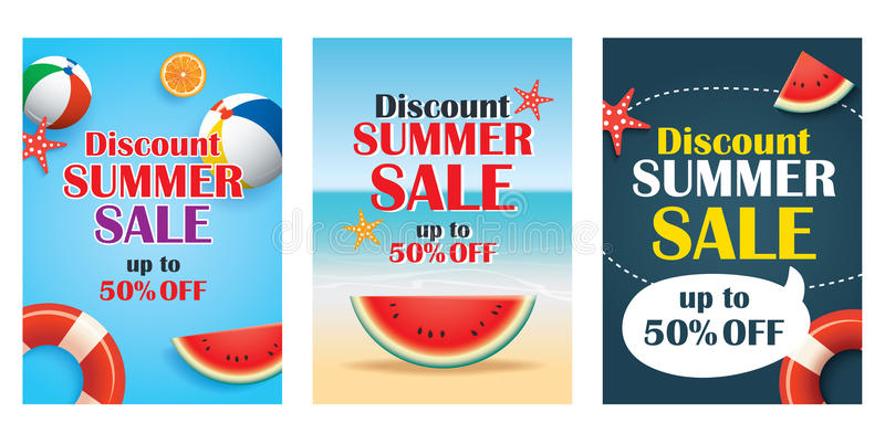 Summer sale emails and banners mobile templates. Vector illustrations for website, posters, brochure, voucher discount, flyers, n vector illustration