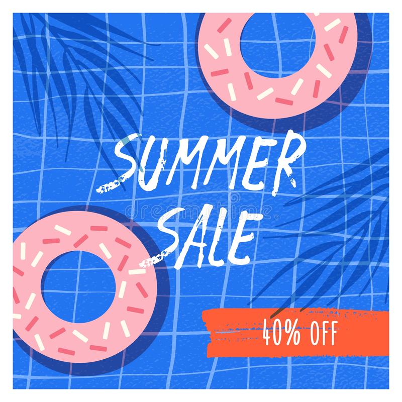 Summer sale flat vector banner template. Doughnuts with icing 40 percent discount promo on blue checked background. Beach cafe desserts sale. Confectionery royalty free illustration