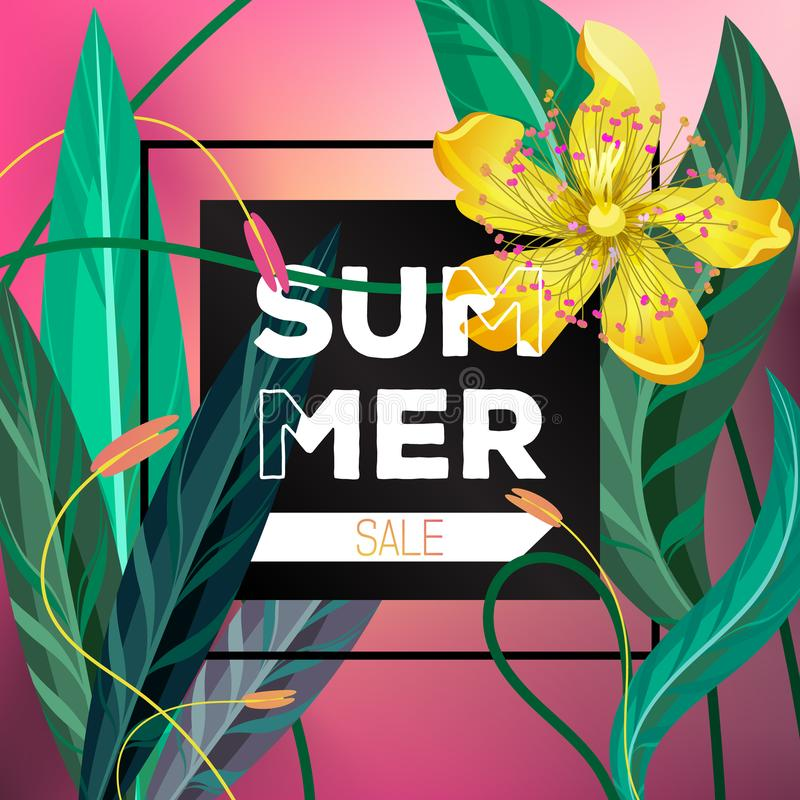 Summer sale floral voucher flyer vector template royalty free illustration