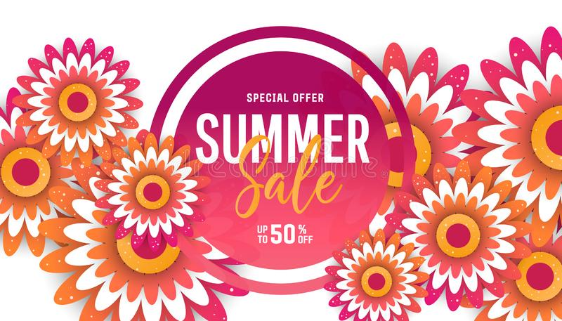Summer sale flyer template with paper cut flowers. For posters, brochures or vouchers royalty free stock images