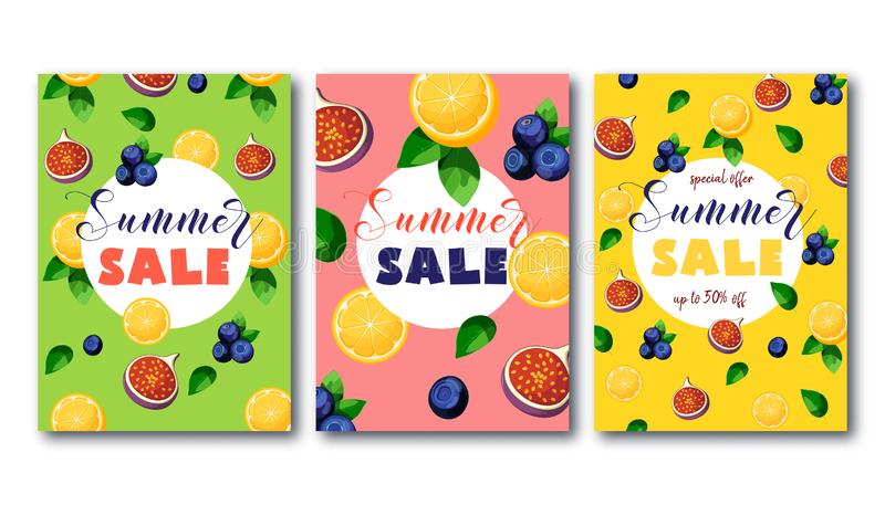 Summer sale flyers set with bright colorful fruits on green, pink and yellow background. vector illustration