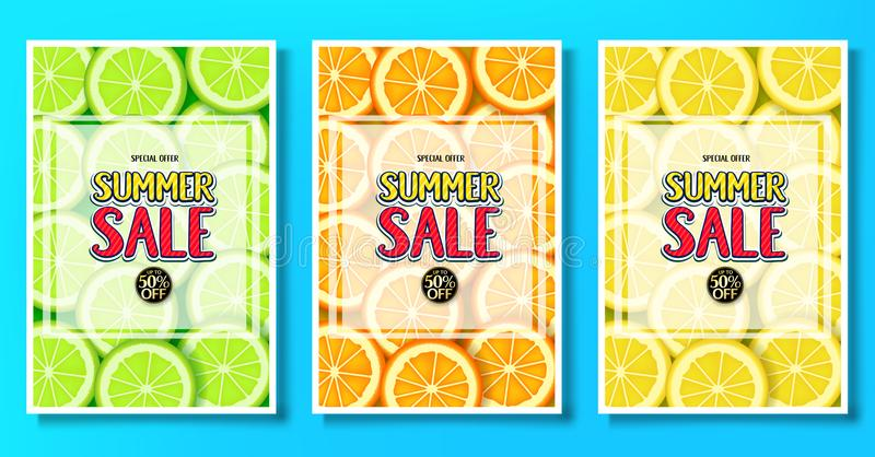Summer Sale Fruity Posters with Lime, Orange and Lemon Fruits Background Vector Illustration vector illustration