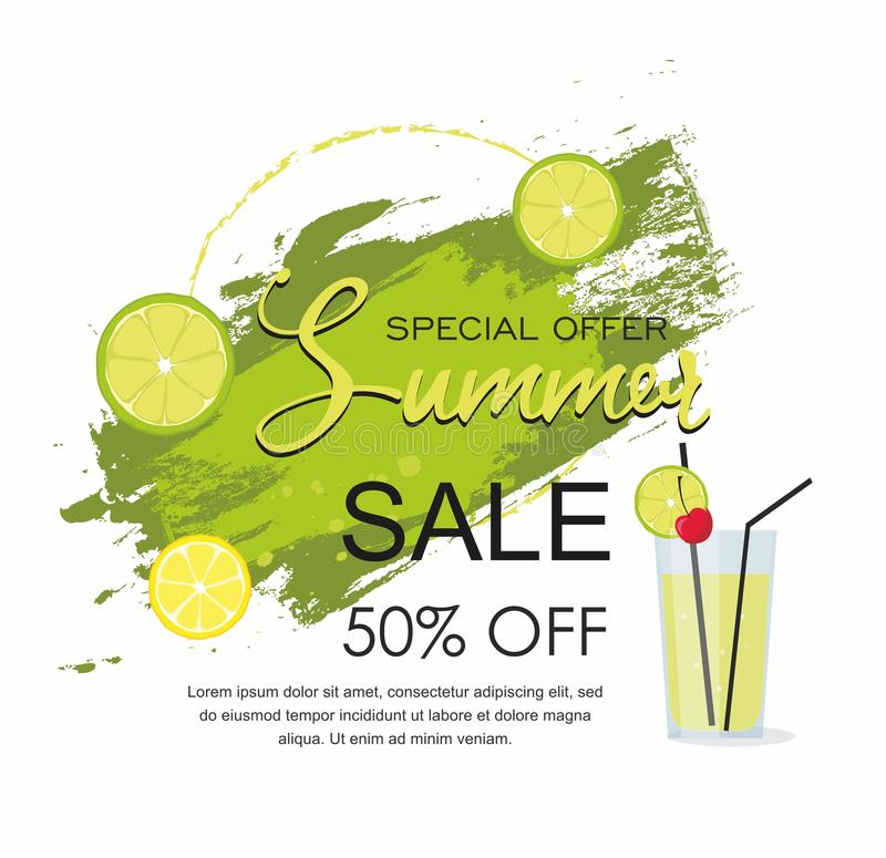 Summer Sale Grunge brush green paint texture with cocktail and lime vector illustration