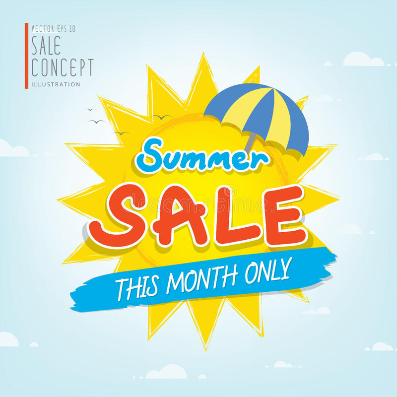 Summer Sale heading design for banner or poster. Sale and discou. Nts. Vector illustration stock illustration