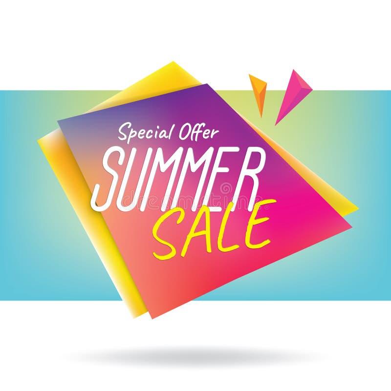 Summer Sale heading design colorful sharp shape for banner or po. Ster. Sale and discounts. Vector illustration stock illustration