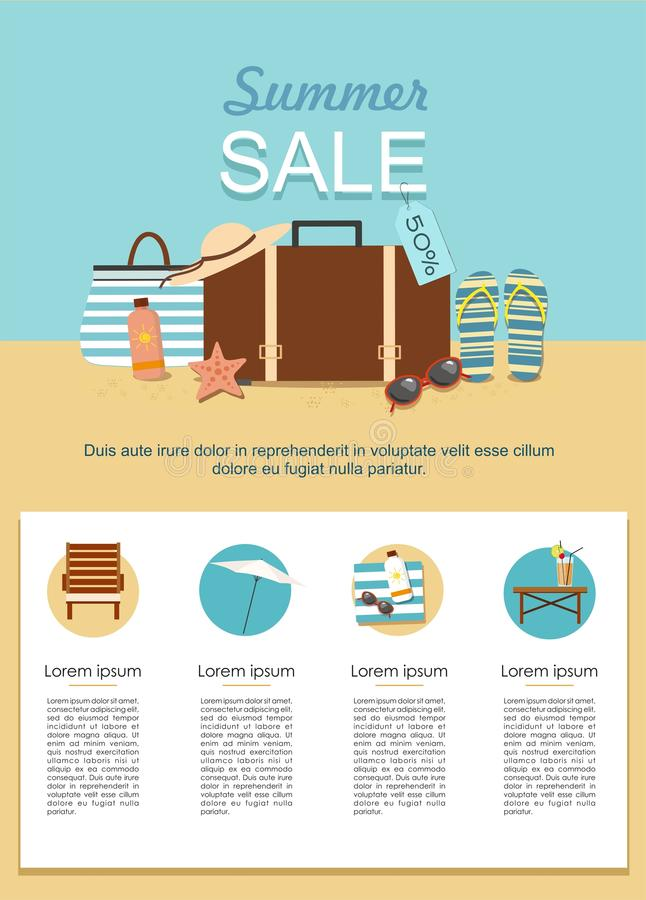 Summer Sale infographic. Suitcase and Beach Accessories on sand. stock illustration