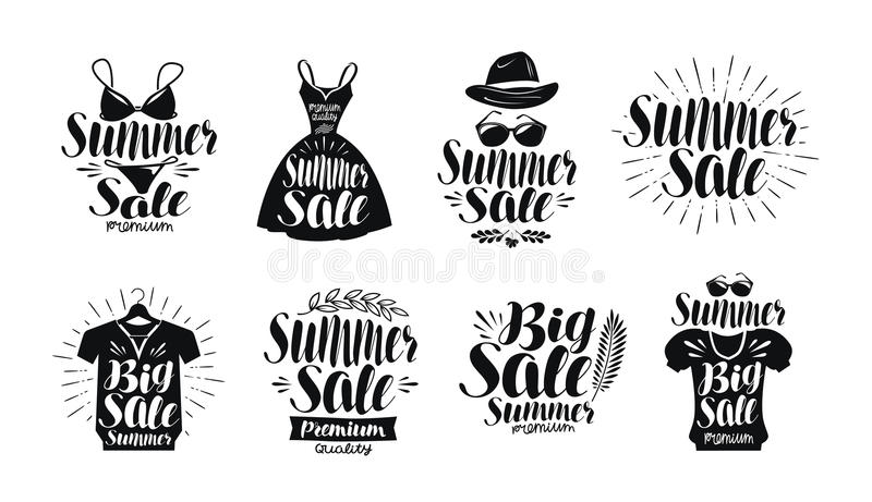 Summer sale, label set. Fashion, boutique, clothes shop, shopping icon or logo. Handwritten lettering, calligraphy vector illustration