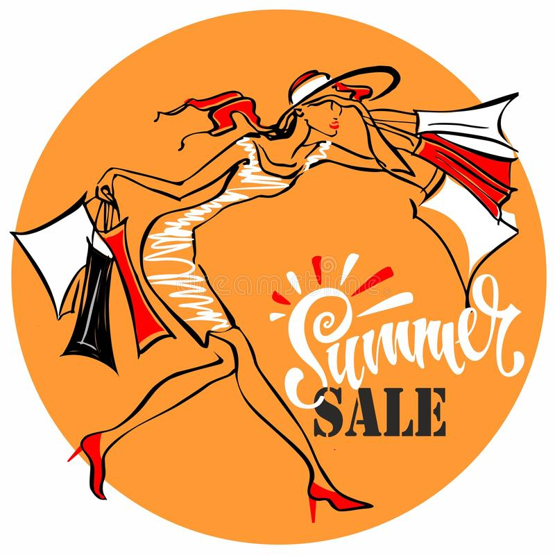 Summer sale. Lettering. The girl runs to shop. Tag design for discount. Shopping on site. Vector illustration. Summer sale. Lettering. The girl runs to shop stock illustration