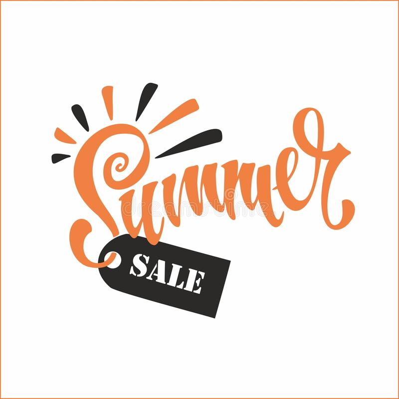 Summer sale. Lettering. Sun and rays. Tag design for discount. Shopping on site. Vector illustration. Summer sale. Lettering. Sun and rays. Tag design for stock illustration