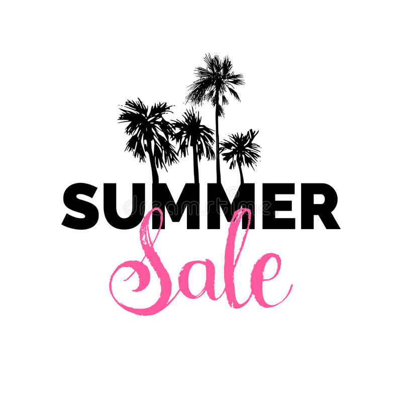 Summer sale lettering vector background. Season discount illustration. Special offer poster with hand drawn palms. stock illustration