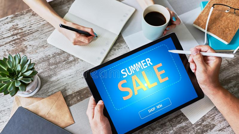 Summer sale, low price offer on device screen. E-commerce and marketing concept. royalty free stock images