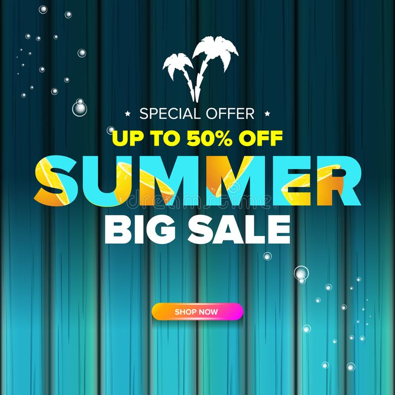 Summer sale modern color design template web banner or poster. Vector Summer sale label with typographic text isolated royalty free illustration