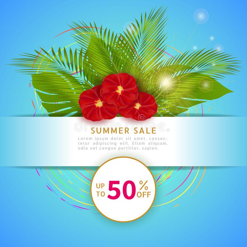 Summer sale, modern web banner design with special discount offer for your business. Poster with palm leaves and red flowers on bl royalty free illustration