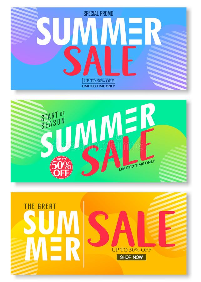 Summer Sale 50% Off on Abstract Colorful Bright Vivid  Background, Fresh Stylish Decorative Patterned Vertical Pull Up Banner Set royalty free illustration