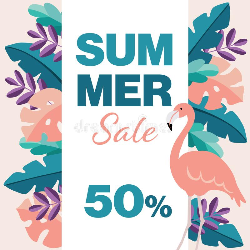 Summer sale, 50 off poster template. Flamingo bird, tropic palm and monstera leaves. Modern flat jungle design. Business stock illustration