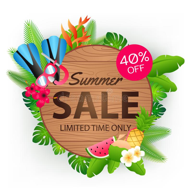 Summer sale offer banner decorative element with its symbol,modern and fashionable design. Vector illustration stock images
