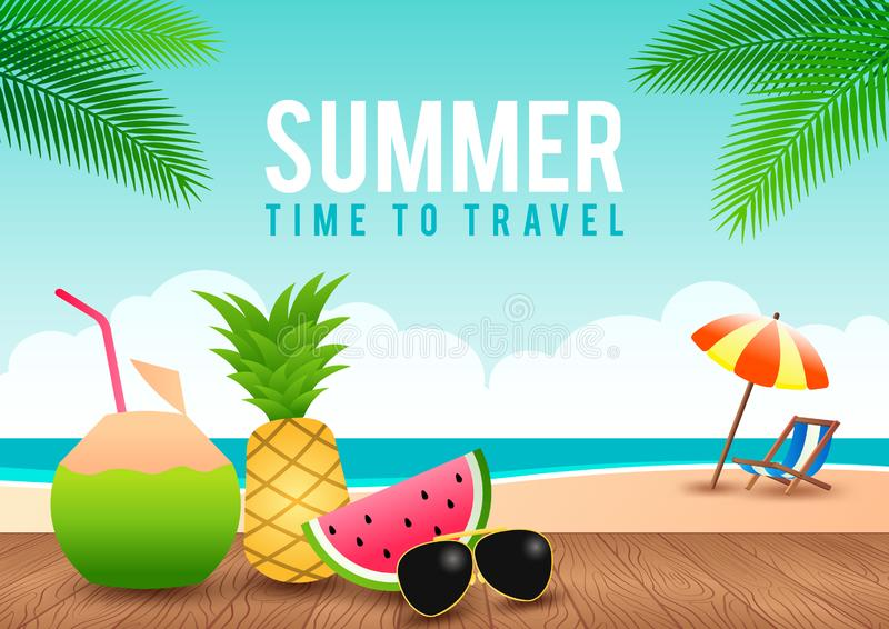 Summer sale offer banner decorative element with its symbol,modern and fashionable design royalty free illustration