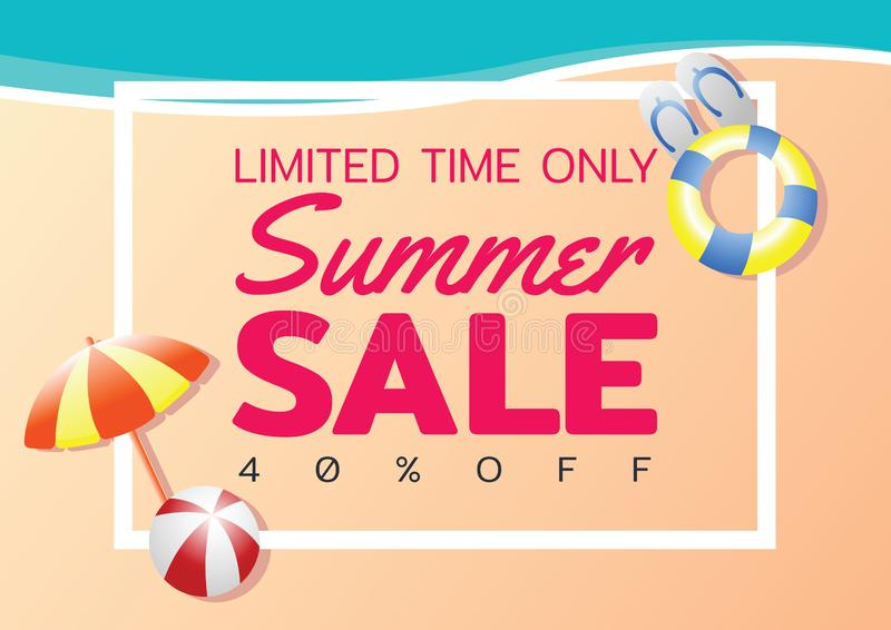 Summer sale offer banner,sea and beach theme with its symbol,modern and fashionable design royalty free illustration