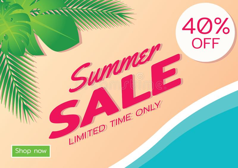 Summer sale offer banner,sea and beach theme with its symbol,modern and fashionable design stock illustration