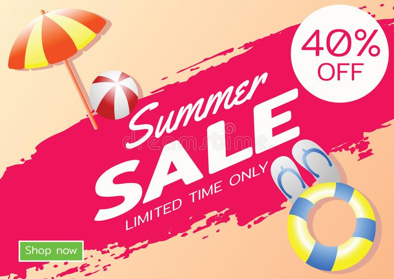 Summer sale offer banner,sea and beach theme with its symbol,modern and fashionable design vector illustration