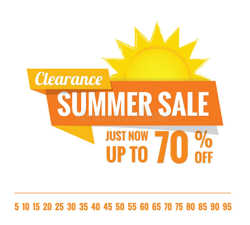 Summer Sale orange tag heading design on white for banner or poster. Sale and Discounts Concept. Vector illustration. vector illustration