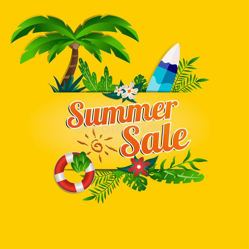 Summer sale paper cut with beach theme and floral decoration on yellow background. With tropical theme and summer items vector illustration
