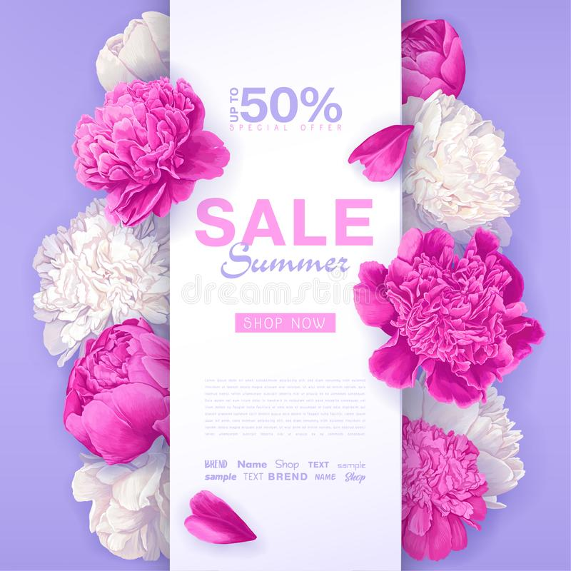 Summer sale design. Spring promo discount banner template with pink and white peonies flowers stock illustration