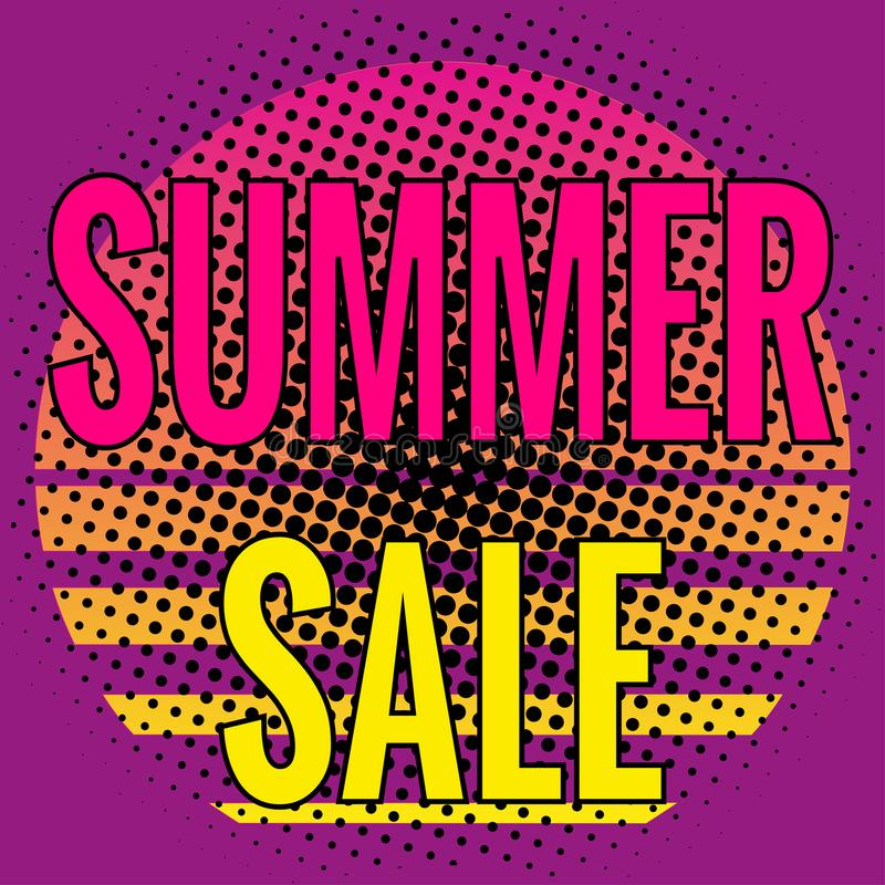 Summer Sale, pop art lettering. Icon flat style and halftone effect, bright neon colors. royalty free illustration