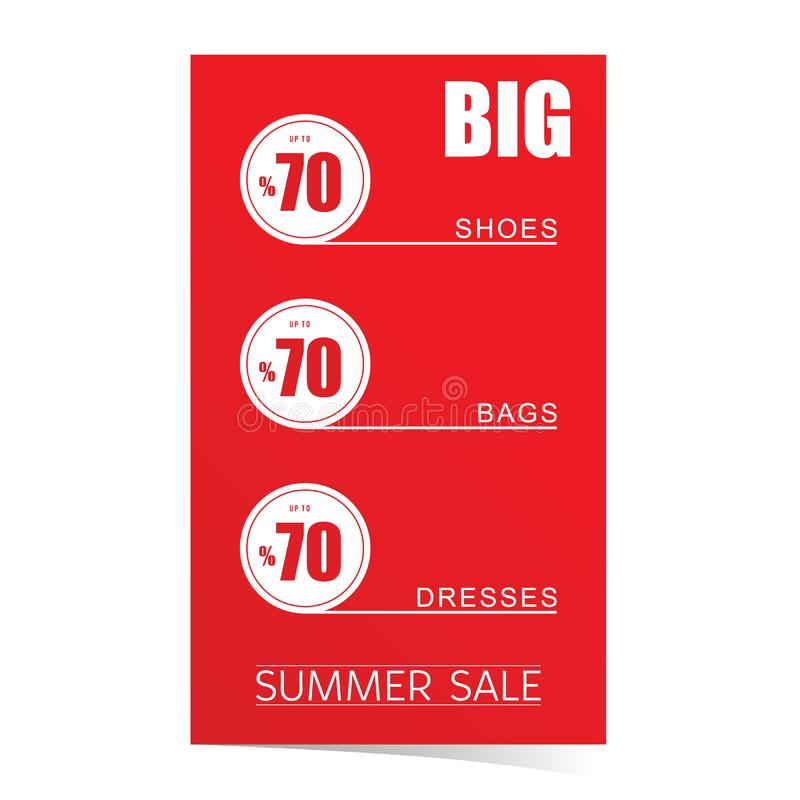 Summer sale poster with articles on sale. In red color royalty free illustration