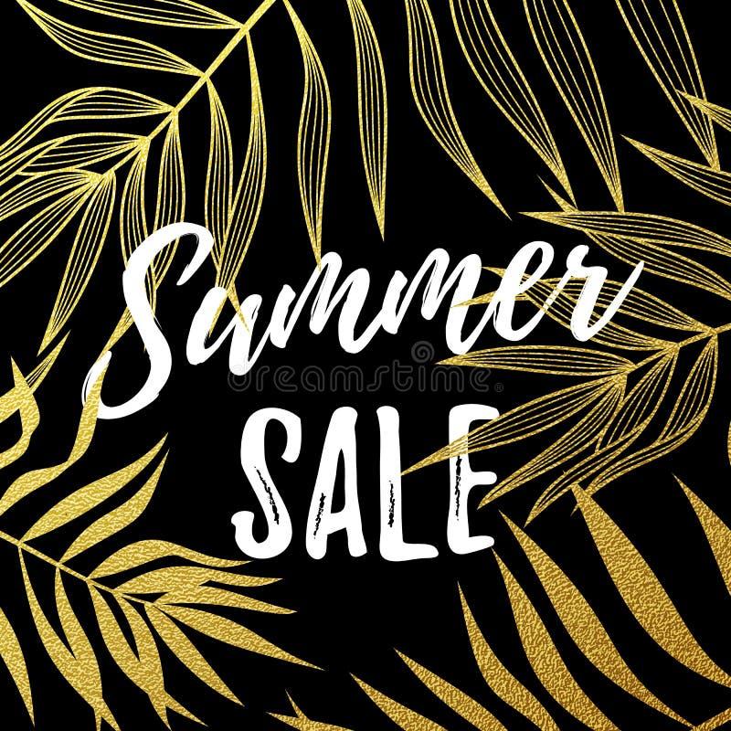 Summer sale poster of palm leaf gold pattern black background stock illustration