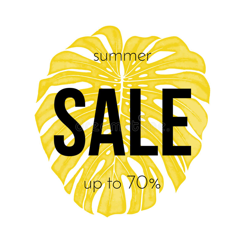 Summer sale poster 70 percent discount seasonal palm leaf promo shopping. Summer sale poster up to 70 percent discount for seasonal promo shopping. Vector yellow royalty free illustration