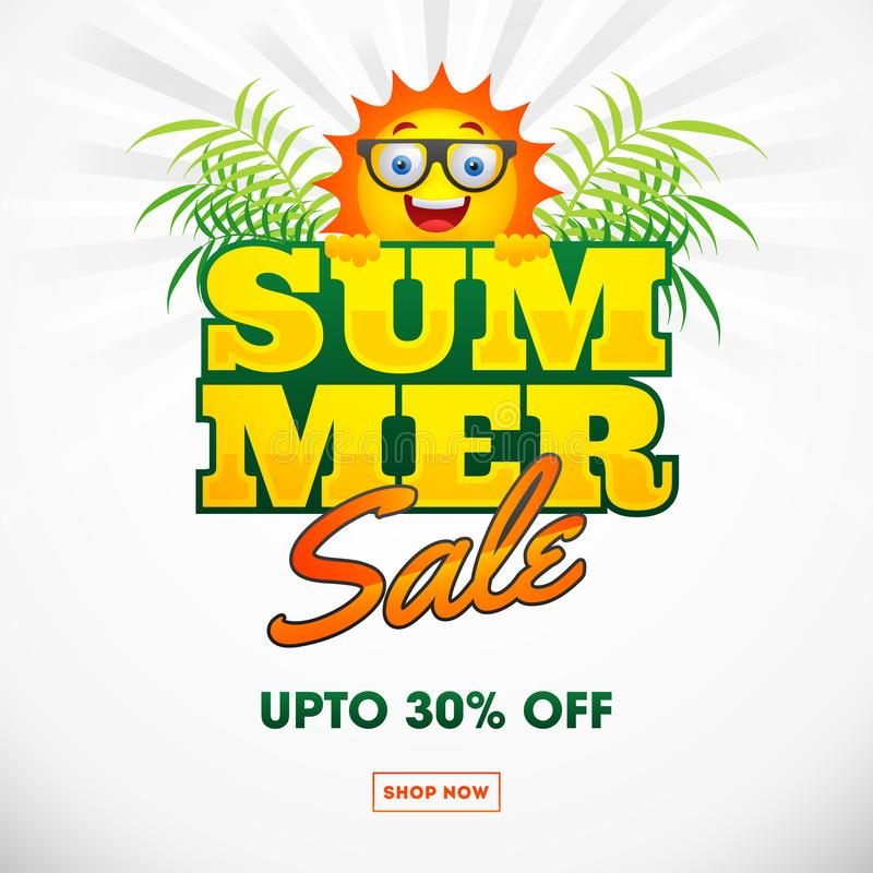 Summer Sale poster or template design with 30% discount offer. vector illustration