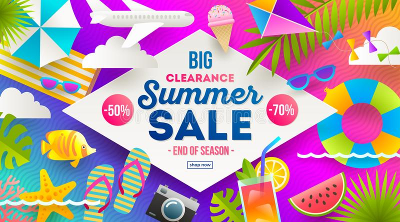 Summer sale promotion banner. Vacation, holidays and travel colorful bright background. Poster or flyer design. Vector illustration royalty free illustration