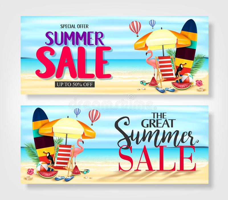 Summer Sale Promotional Banners with Realistic Pink Flamingo, Black Toucan, Tropical Leaves royalty free illustration