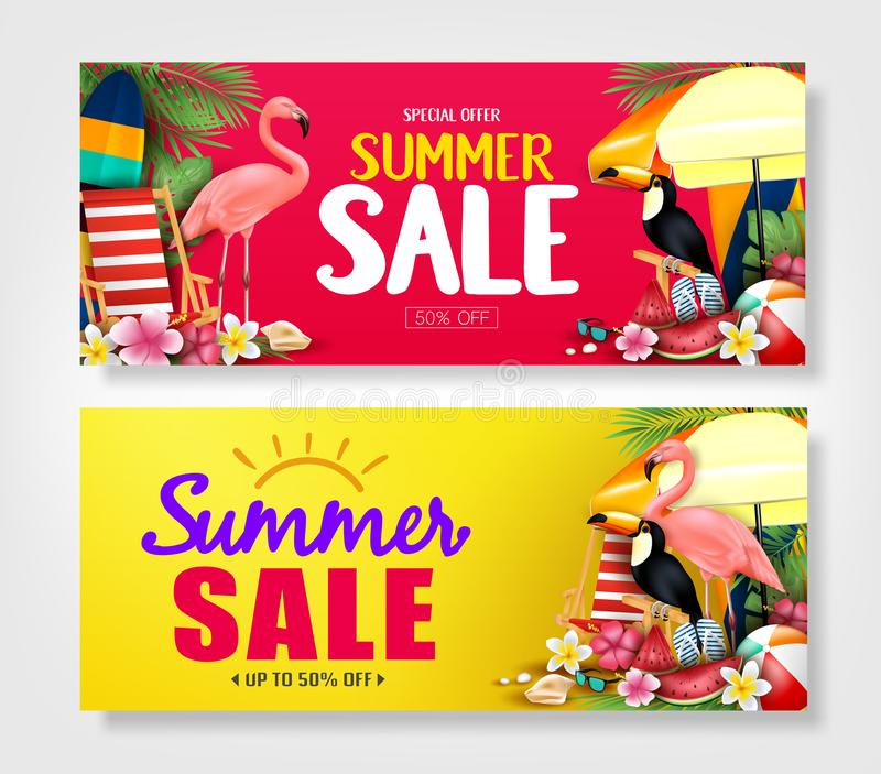 Summer Sale Red and Yellow Banners with Realistic Pink Flamingo, Black Toucan, Tropical Leaves royalty free illustration