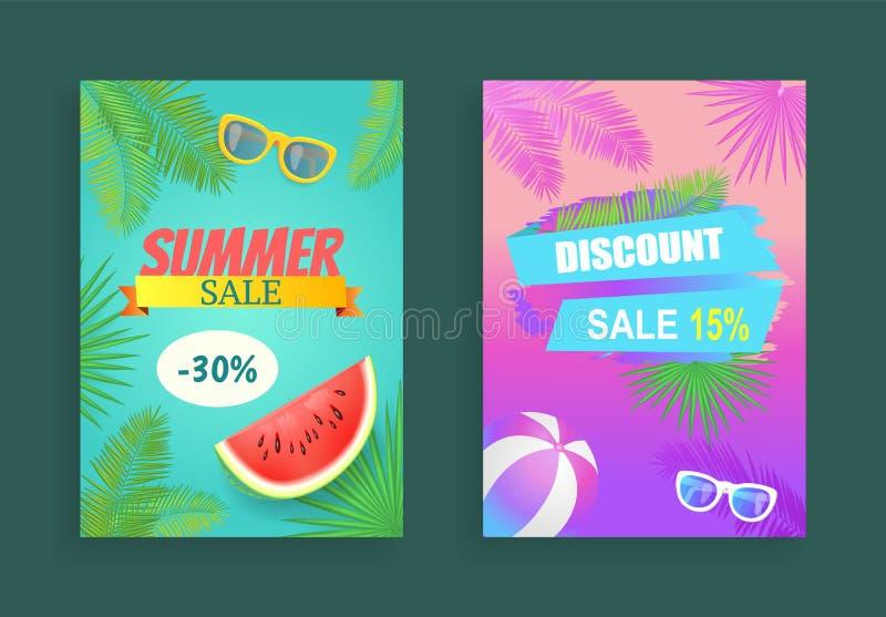 Summer Sale Reduction Set Vector Illustration royalty free illustration