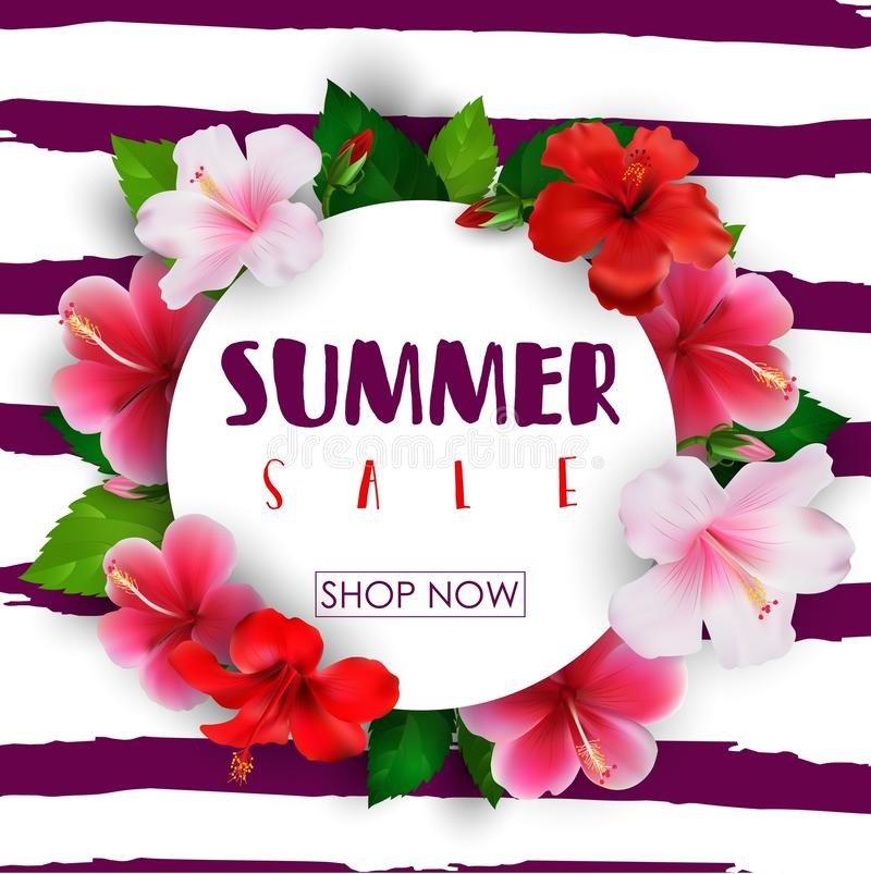 Summer sale round background with tropical flowers royalty free illustration