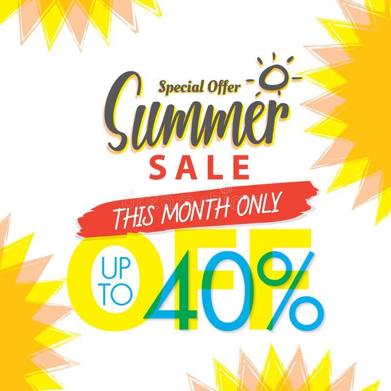 Summer Sale set V.4 40 percent colorful heading design for banner or poster. Sale and Discounts Concept. Vector illustration. royalty free illustration