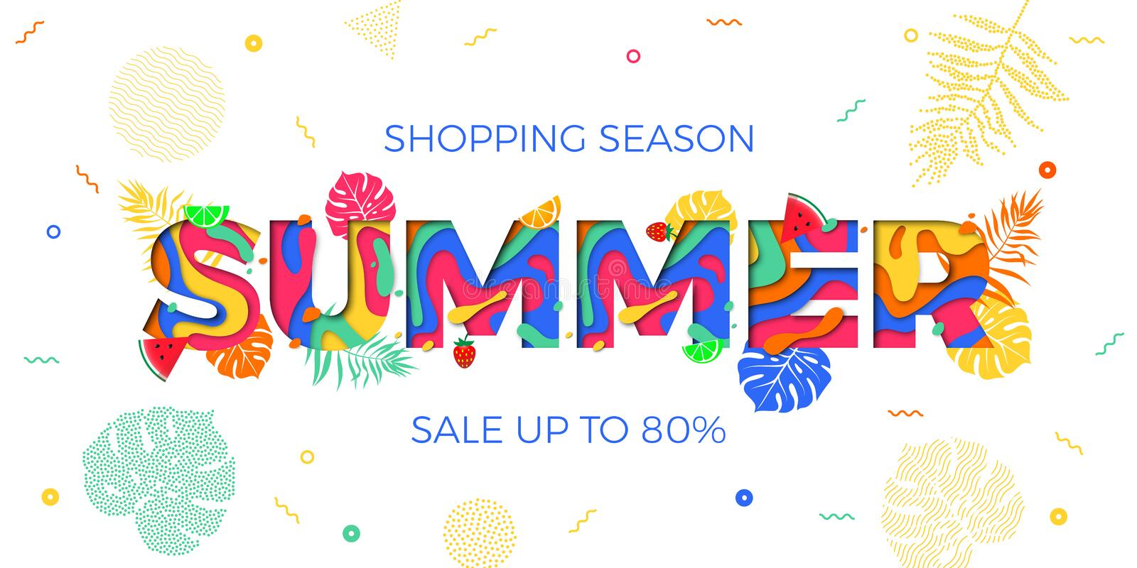 Summer sale shopping discount vector palm leaf papercut text web banner royalty free illustration