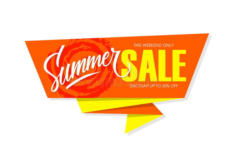Summer Sale special offer banner with hand lettering for business, promotion and advertising. royalty free illustration