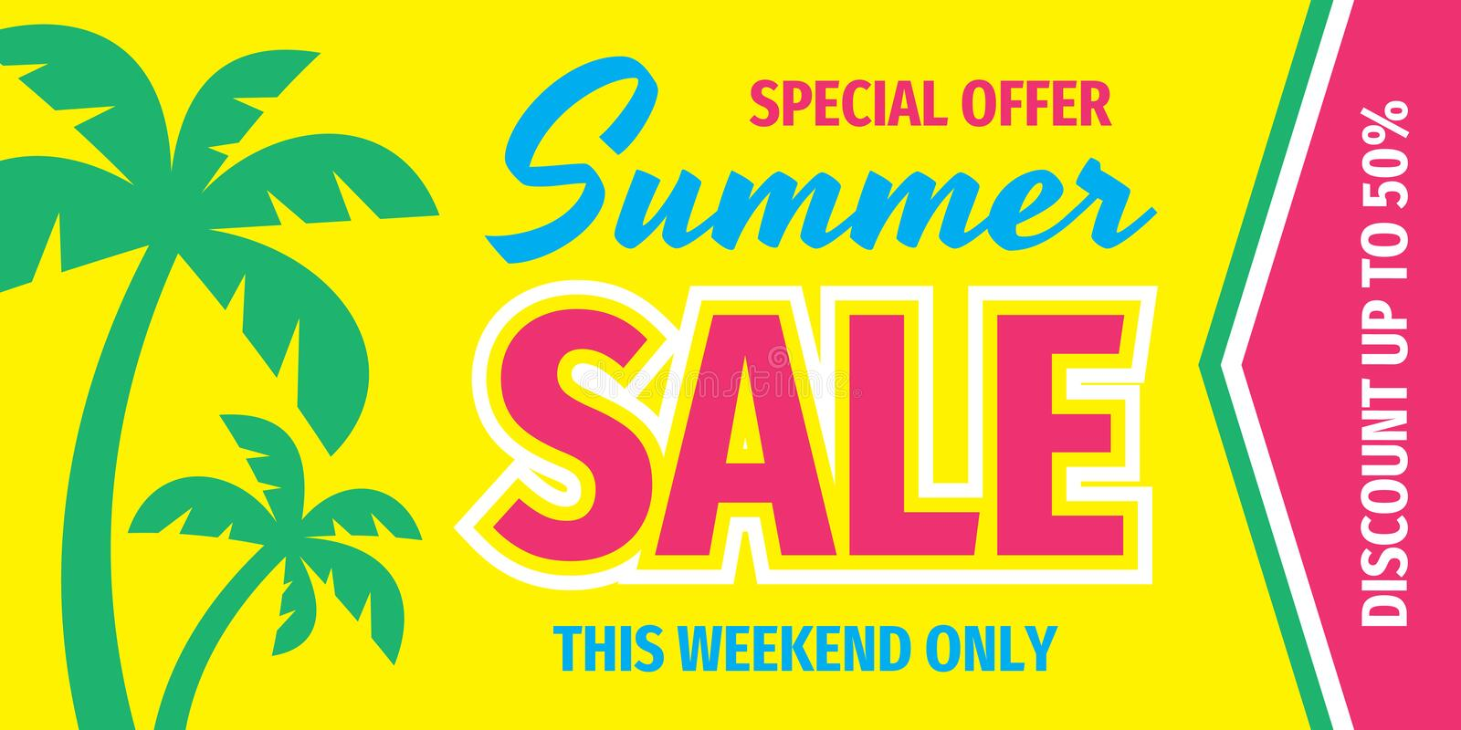 Summer sale special offer - concept horizontal banner. Vector illustration. Advertising promotion poster. Discount up to 50 royalty free illustration