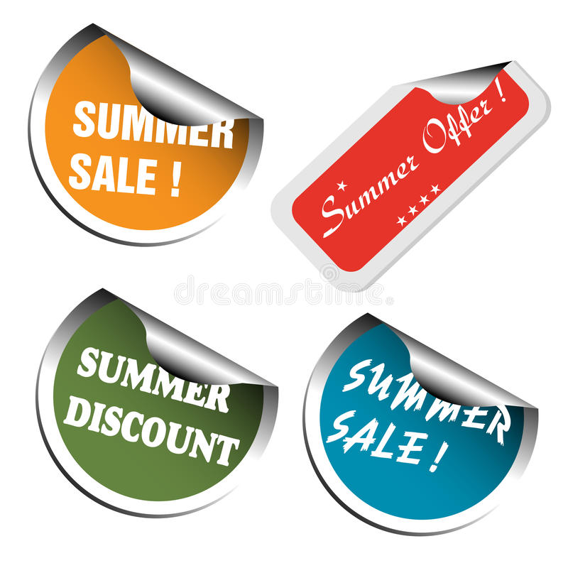 Summer sale stickers. Set of four summer sale stickers colored in various colors. Summer offer advertising theme vector illustration