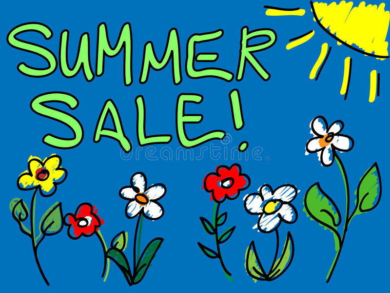 Summer Sale With Sun And Flowers Doodle Royalty Free Stock Image