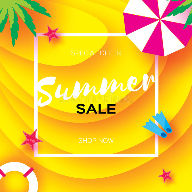 Summer Sale Template banner. Beach rest. Summer vacantion. Top view on colorful beach elements. Square frame with space stock illustration