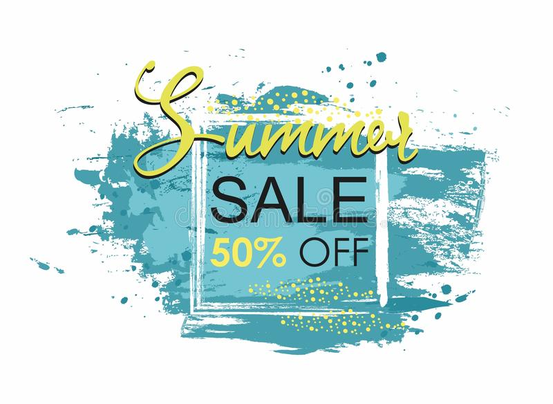 Summer Sale template Grunge brush blue paint in square texture design. Stroke poster royalty free illustration
