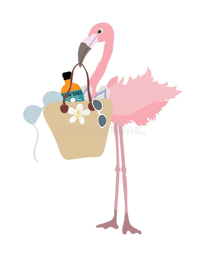 Stylish Flamingo tropical bird goes shopping. Summer sale template for poster, banner, postcard. royalty free illustration