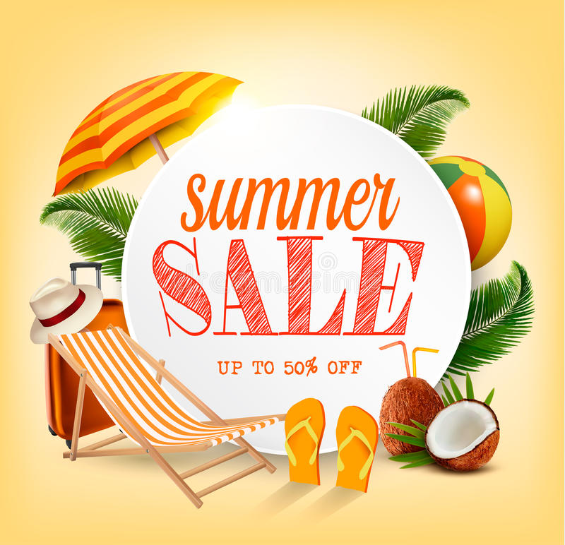 Summer Sale Template Vector Banner With Colorful Beach Elements. royalty free illustration