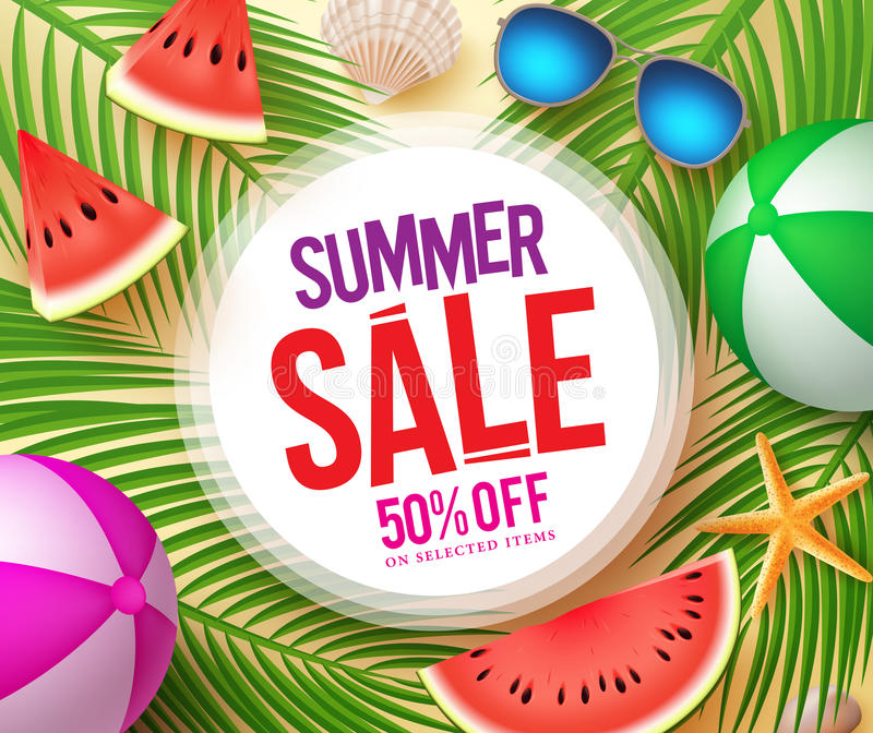 Summer sale text in white circle with colorful vector summer elements stock illustration