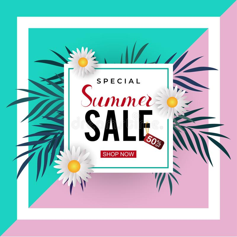 Summer sale trendy banner template with frame and floral decoration. Vector background discount poster design promotion label illustration price flyer fashion stock illustration